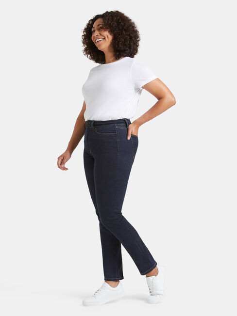 Tummy Trimmer Slim Straight Jeans  Absolute Indigo, Dark Indigo, hi-res