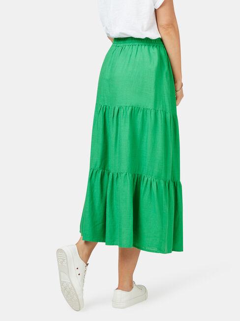 Alexandra Tiered Skirt, Green, hi-res