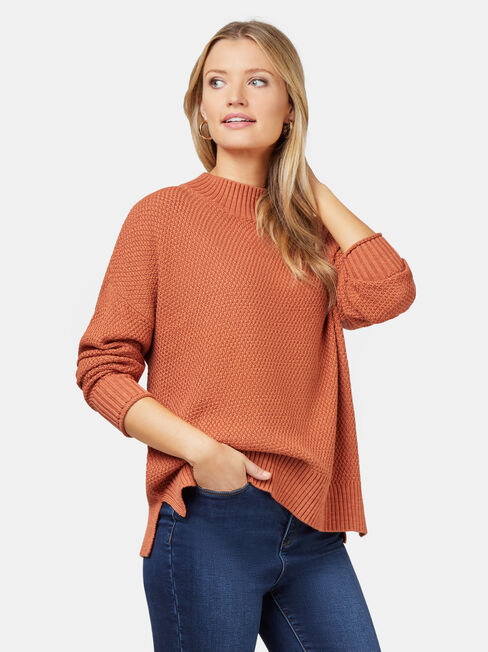 Sage Seed Stitch Pullover, Red, hi-res