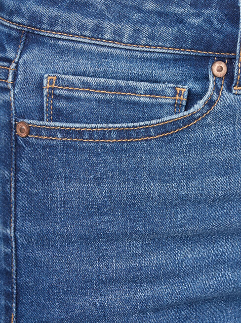 Ellie High Waisted Skinny 7/8 jeans, Mid Indigo, hi-res