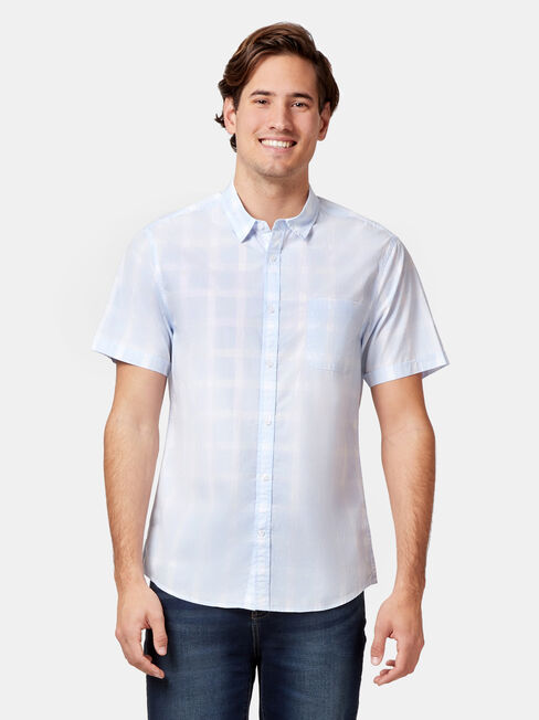 SS Jaxton Check Shirt, Blue, hi-res