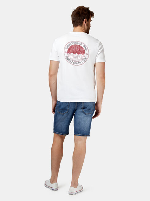August Short Sleeve Print Crew Tee, White, hi-res