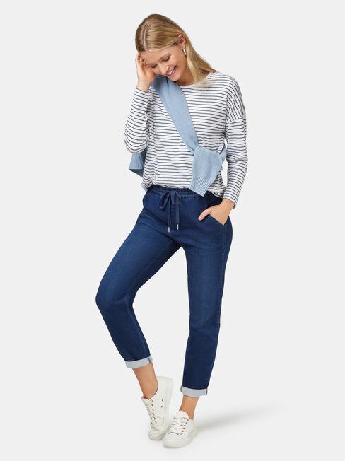 3/4 Sleeve Drop Shoulder Tee, Blue Stripe, hi-res