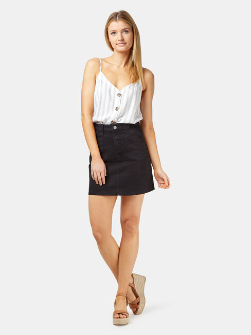 Mel Patch Pocket Skirt, Black, hi-res