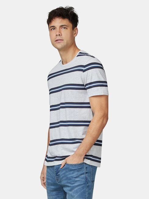 Porter Short Sleeve Stripe Crew Tee, Grey, hi-res