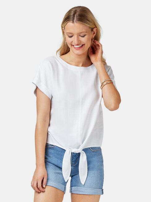 Luna Linen Blend Top, White, hi-res