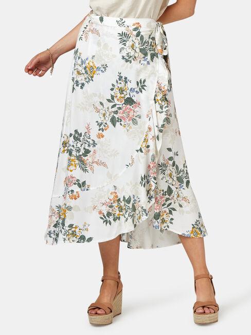 Chloe Midi Wrap Skirt, White, hi-res