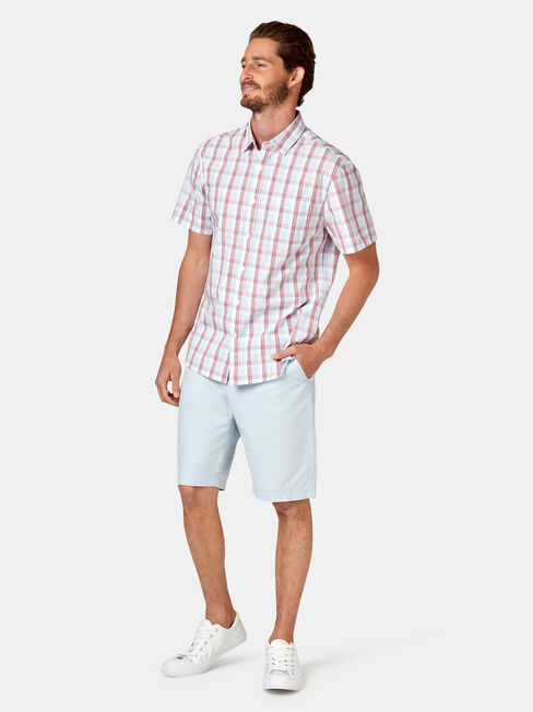 Todd Short Sleeve Check Shirt, Red, hi-res