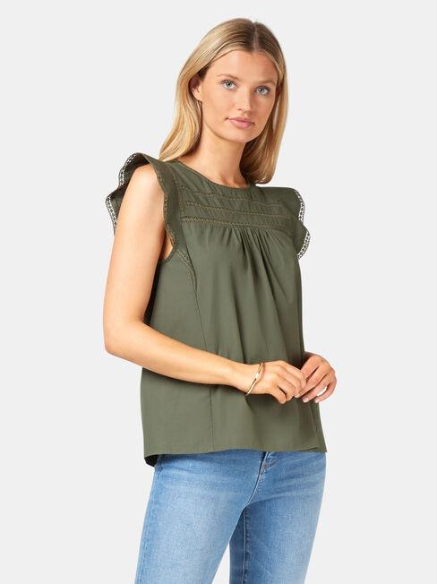 Teagan Ruffle Sleeve Top, Green, hi-res