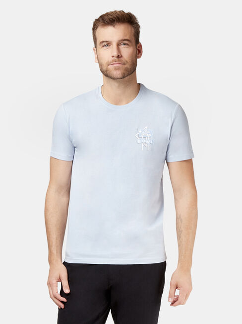 Emery Short Sleeve Print Crew Tee, Blue, hi-res