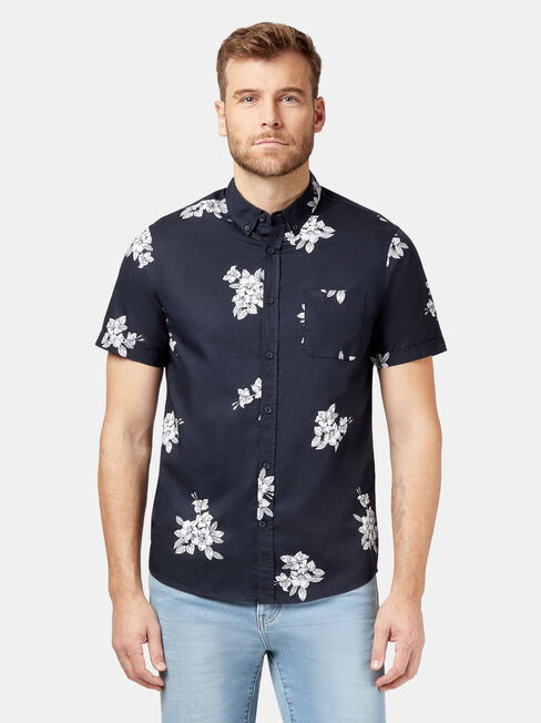 Billie Short Sleeve Print Shirt, Blue, hi-res