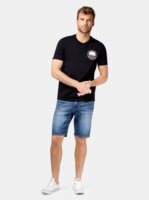 August Short Sleeve Print Crew Tee, Black, hi-res