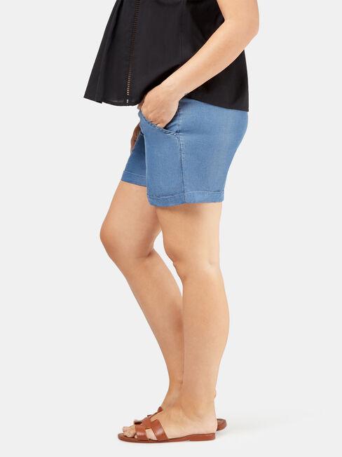 Gigi Chambray Maternity Short, Blue, hi-res