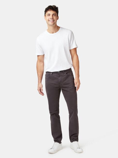 Slim Tapered Jeans Black Charcoal, Black, hi-res