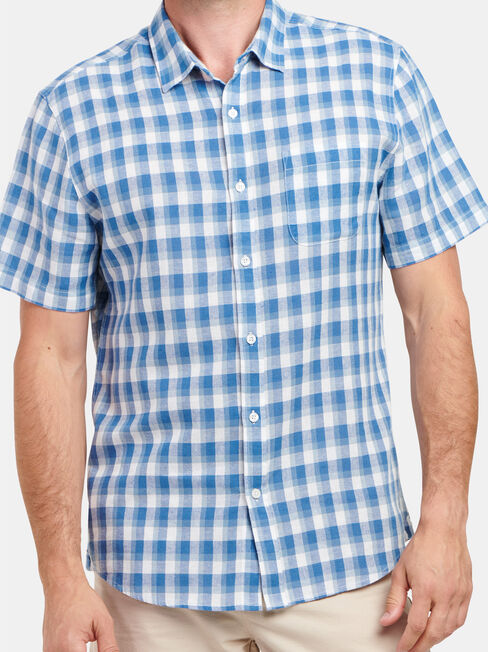 Trent Short Sleeve Check Shirt, White, hi-res