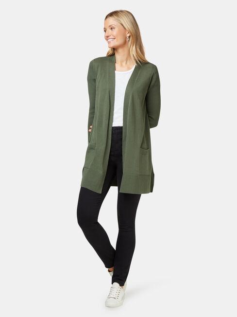Everlynn Essential Cardigan, Green, hi-res