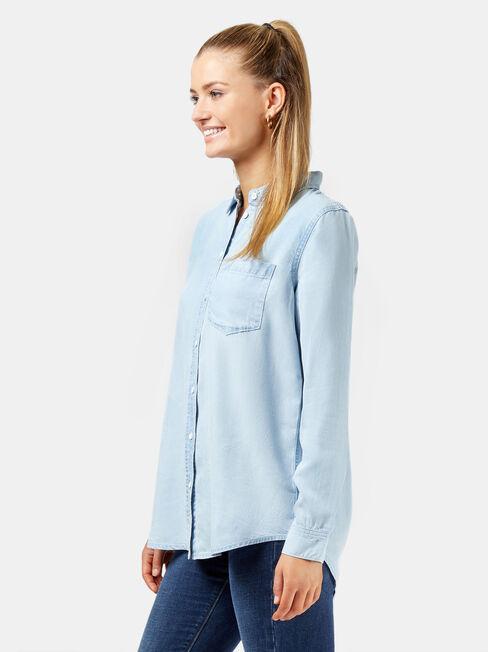 Fleur Tencel Shirt +, Blue, hi-res