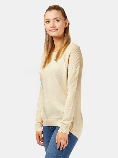 Bella Crew Neck Pullover, Brown, hi-res
