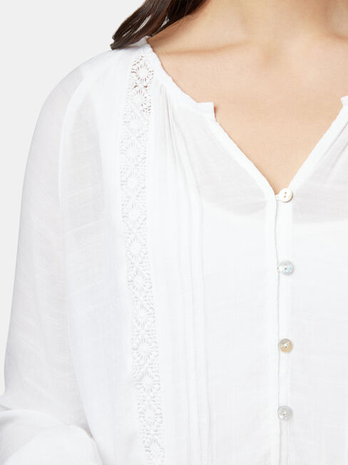 Lana Lace Insert Tie Front Top, White, hi-res