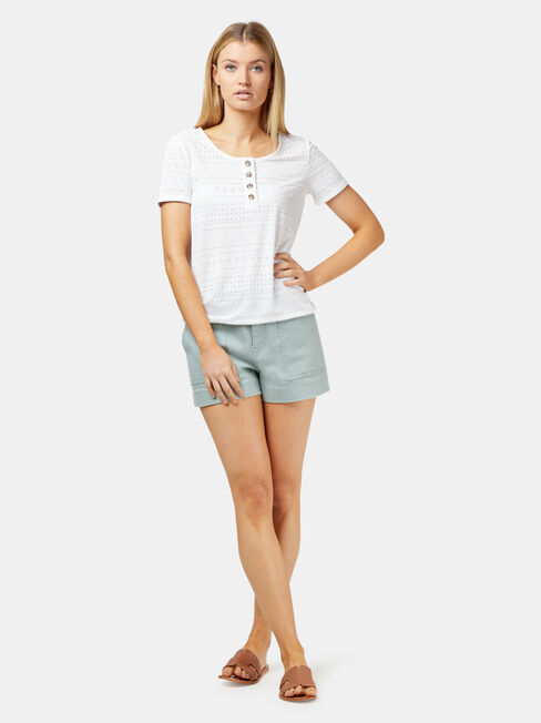 Lacey Lace Button Front Tee, White, hi-res