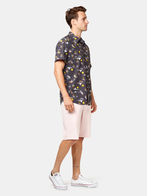 Rylan Short Sleeve Print Shirt, Black, hi-res