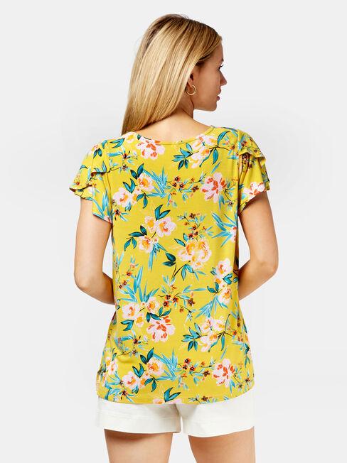 Hannah Print Tulip Sleeve Top, Yellow, hi-res