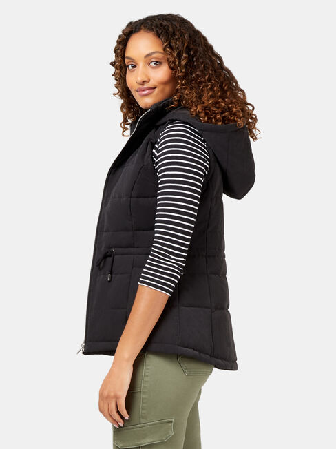 Belinda Padded Vest, Black, hi-res