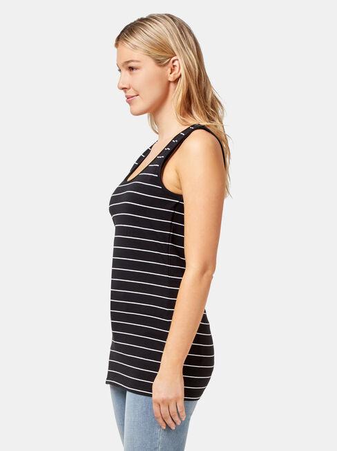 Post Maternity Cotton Nursing Tank, Stripe, hi-res