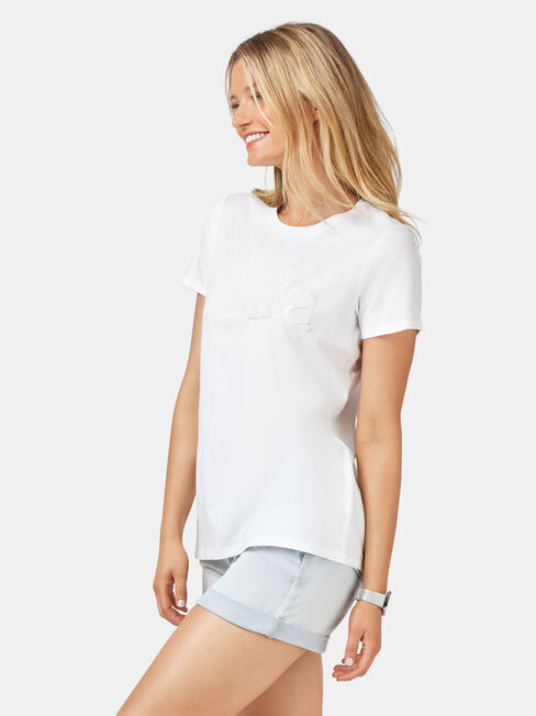 Embellished Slogan Tee, White, hi-res