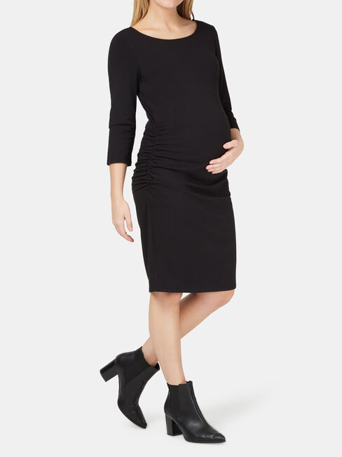 Michaela Gathered Maternity Dress, Black, hi-res
