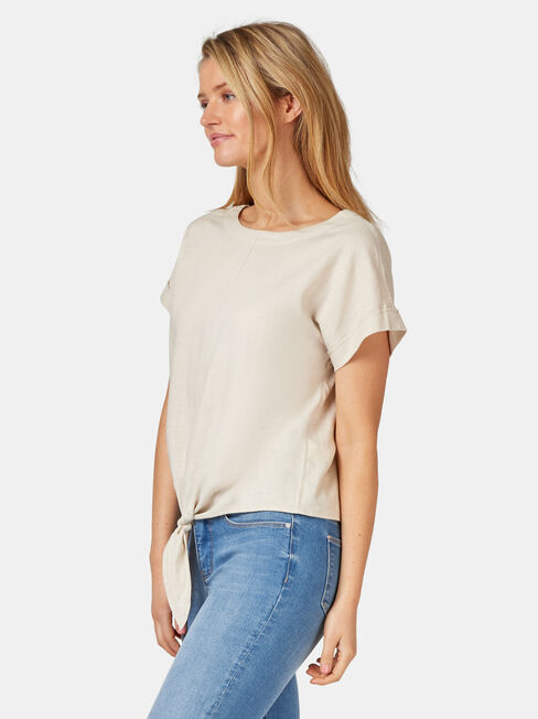 Luna Linen Blend Top, White, hi-res