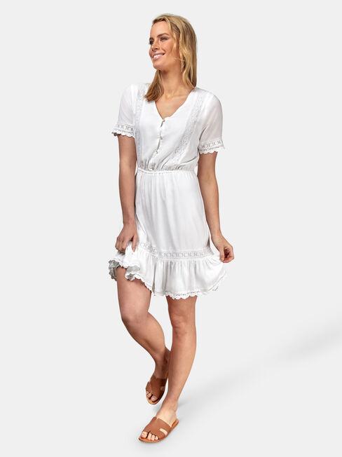 Allison Broderie Dress, White, hi-res