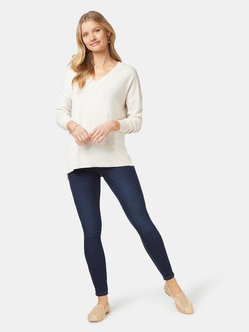 Cassidy Essential V-Neck Pullover, White, hi-res