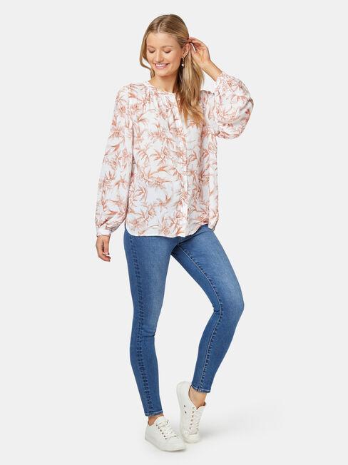 Annie Button Thru Blouse, Floral, hi-res