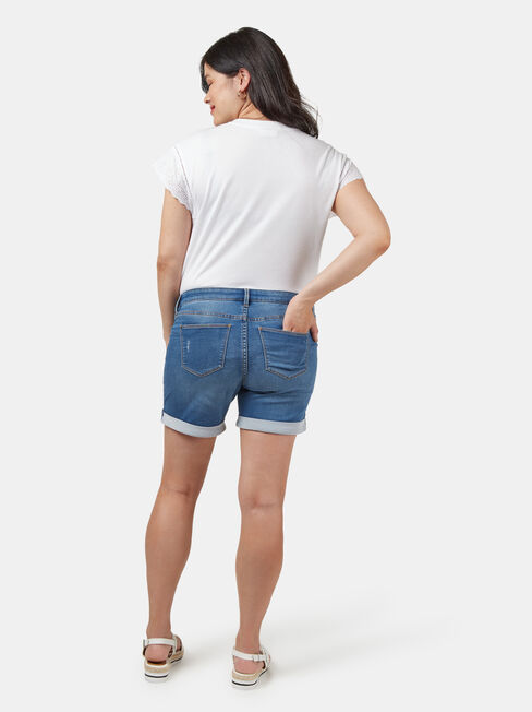 Charlie Maternity Bermuda Short, White, hi-res