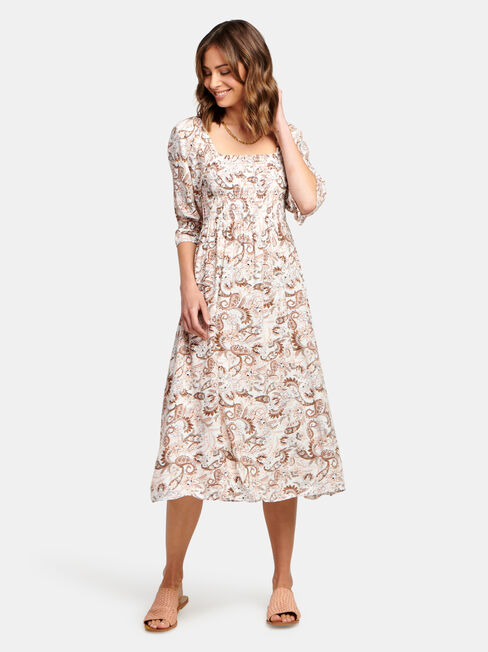 Shell Shirred Bust Dress