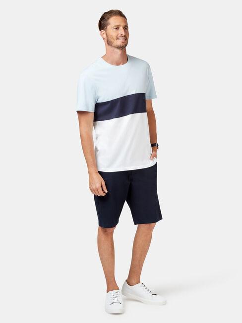 Lewis Short Sleeve Stripe Crew Tee, Blue, hi-res
