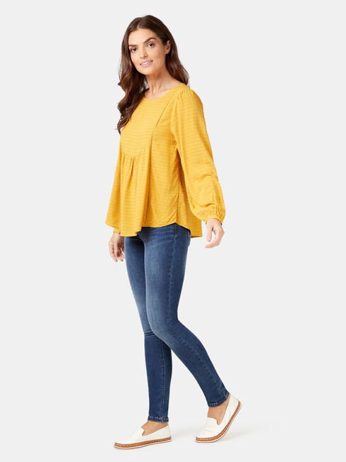 Avery Ladder Trim Blouse, Yellow, hi-res