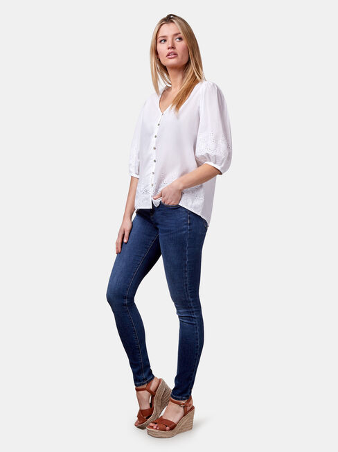 Byron Broderie Top, White, hi-res