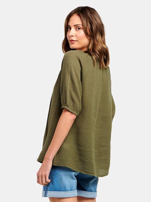 Cheska Cheesecloth Peasant Top, Green, hi-res