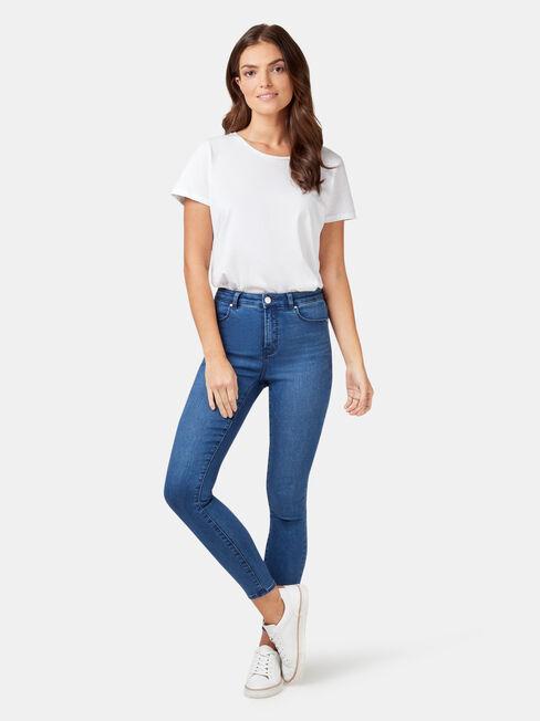 Eco Soft Mid Waisted Skinny 7/8 Jeans Bright Indigo, Mid Indigo, hi-res