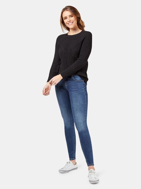 Rhani Stitch Pullover, Black, hi-res