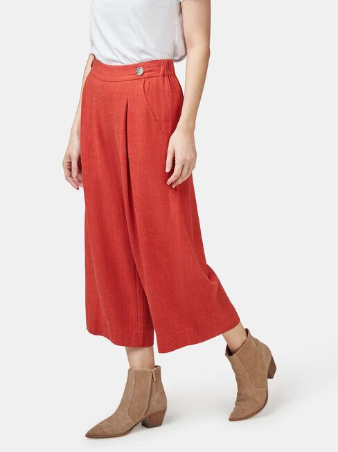 Ava Wide Leg Elastic Waist Pant, Green, hi-res