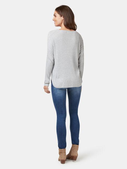 Laura Essential Curve Hem Pullover, Grey, hi-res