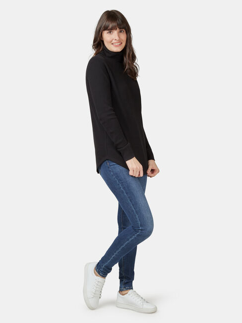 Ally Textured Stand Neck Top, Black, hi-res