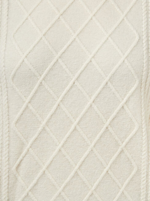 Harper Cable Pullover, White, hi-res