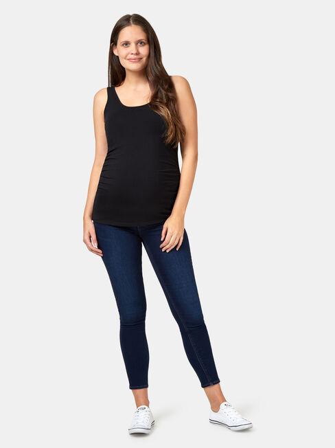 Lola Maternity Cotton Basic Tank, Black, hi-res