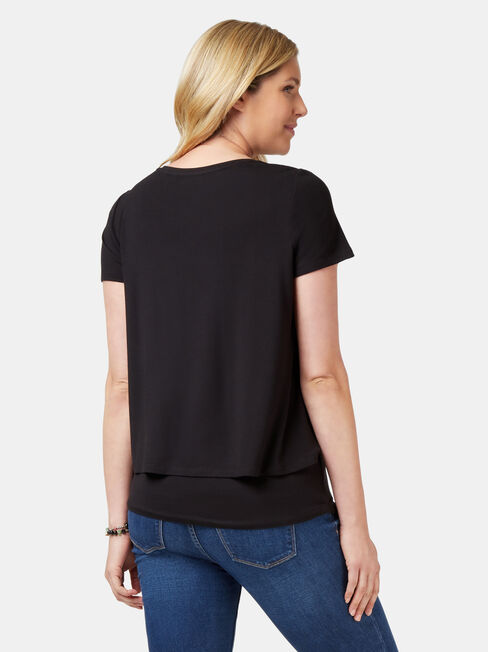 Cerese Layered Maternity Top, Black, hi-res