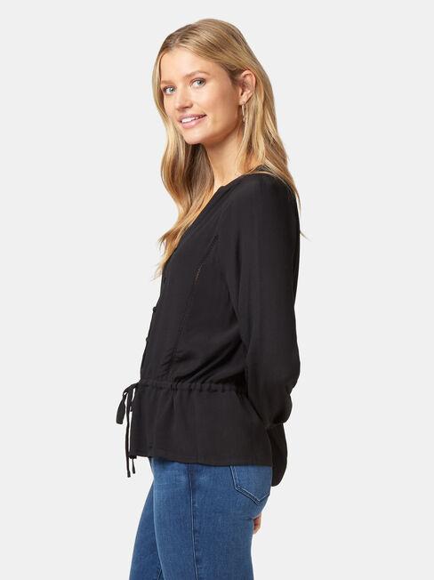 Kora Button Through Blouse, Black, hi-res