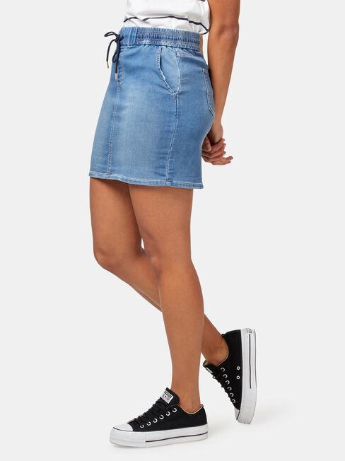 Nina Luxe Lounge Knit Denim Skirt, Blue, hi-res